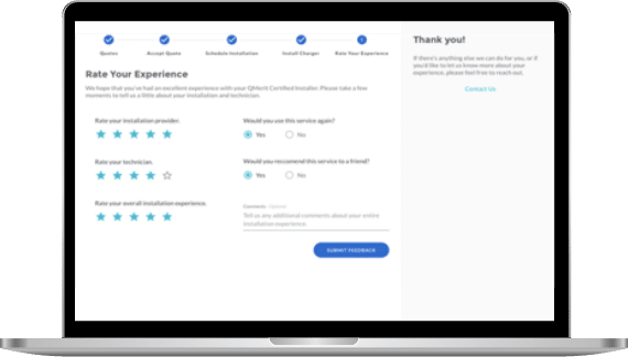 Screenshot of feedback screen after charging station installation
