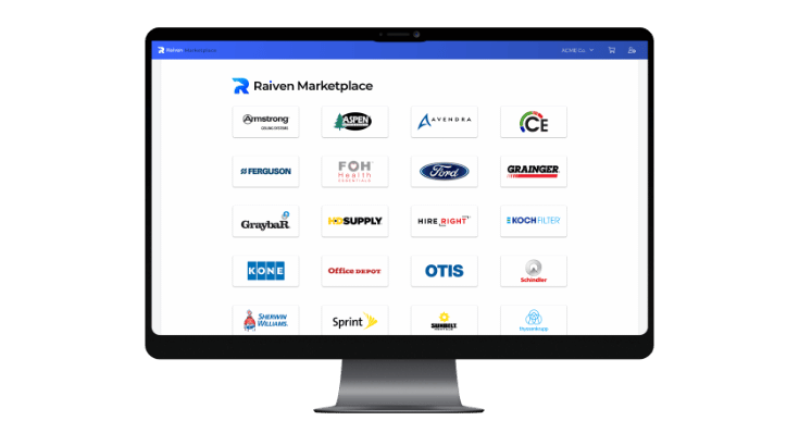 computer monitor with Raiven Marketplace displaying brand names of electrical supplies online